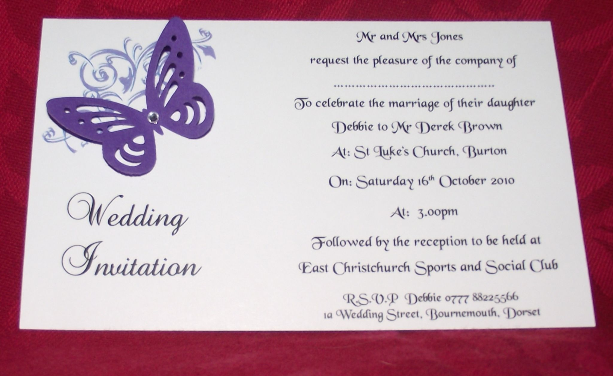 Wedding invitations Day or Evening Personalised Corner butterfly ...